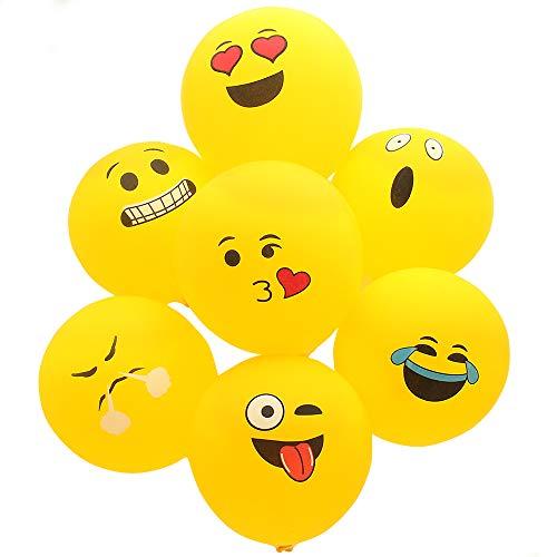 Emoji Balloons, 100Pcs Face Emoji , Ballons à Latex pour la fêtes d'anniversaire de Fournitures pour fêtes d'anniversaire pour garçon et Fille, Jaune