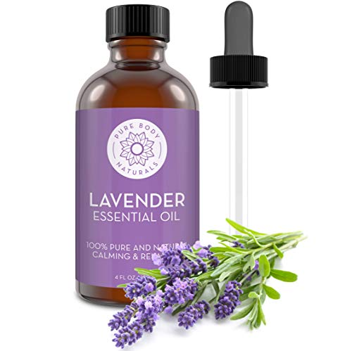 French Lavender Essential Oil Blend, 100% Pure, Independently Tested, Therapeutic Grade for Aromatherapy or Cosmetics with Glass Eye Dropper by Pure Body Naturals, 4 Ounce (Packaging may vary)