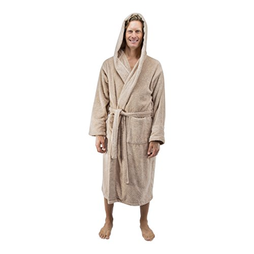 Comfy Robes Personalized Men's Deluxe 20 oz. Turkish Cotton Hooded Bathrobe, XXL Beige