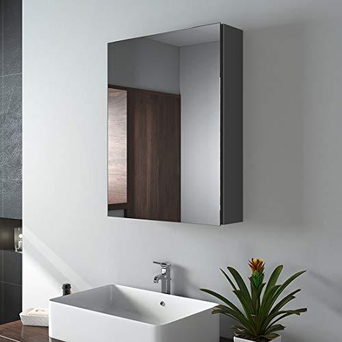 EMKE Spiegelschrank, 50x65cm Badezimmerspiegelschrank Badschrank mit doppelseitigem Spiegel (Deep Space Grey)