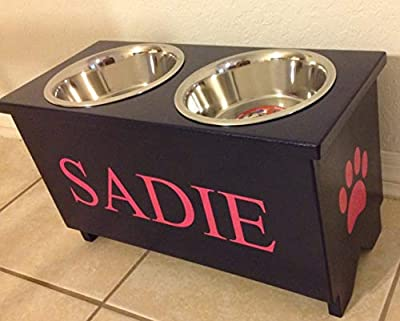 Large Custom Raised Dog Food Bowl Stand