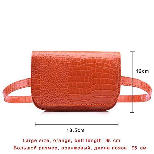 DINAER 2 Piezas Vintage Riñonera Mujer Cocodrilo PU Cinturón de Cuero Bolsa Cintura Paquete Cinturón de Viaje Carteras Fanny Bolsas Damas Fit 5.5 Pulgadas teléfonos-Naranja Grande