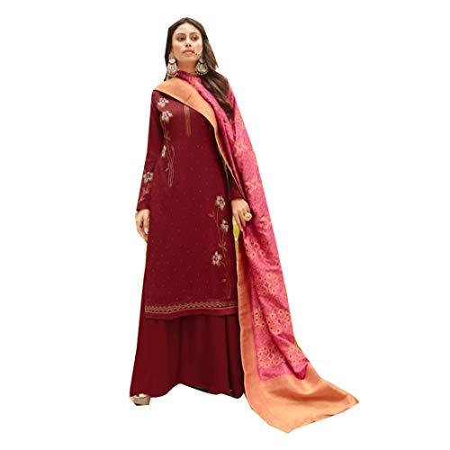 PINKKART Diseñador Shree Suave Seda Palazzo Traje Bandhani Dupatta India/Pakistaní Musulmanas Mujeres desgaste 5276