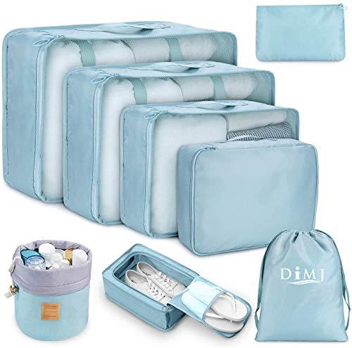 DIMJ - Organizer per valigia, cubici, da viaggio, set di 8, sacchetti per valigia per vestiti, scarpe e cosmetici Blu Blu 1
