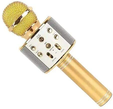 DK Home Wireless Microphone for Karaoke/Portable Mic/Singing Microphone/Mic and Bluetooth Speaker Compatible with iPhone/iPad/iPod/and All Android Smartphones (Gold)