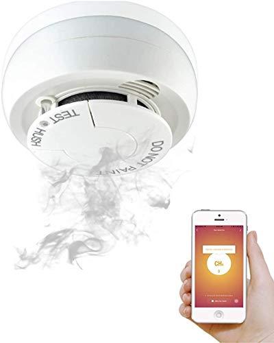 Rauchmelder Batterie Austauschbar - Smart Home Co2 Rauchmelder - Gaswarner SMS-Benachrichtigung - Gasmelder Feuermelder Vernetzt - Smoke Detector An der Wand Montiert