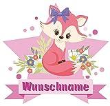 Samunshi® Süße Füchsin Wandtattoo Türschild mit Name personalisierbar Kinderzimmer Türaufkleber Baby Wandaufkleber in 9 Größen (25x22cm Mehrfarbig)