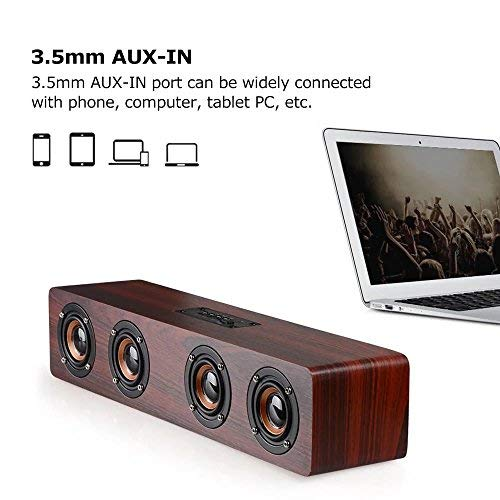 Laptop Speaker Bluetooth, TechCode Portable Wireless Bluetooth Speakers TF Card AUX Subwoofer Portable Speaker for TV Home Theatre 3D Wood Sound Bar for All Bluetooth Devices (Red)