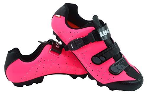 LUCK Zapatillas de Ciclismo MTB ODÍN con Suela de Carbono y Cierre milimétrico de precisión. (38 EU, Fucsia)