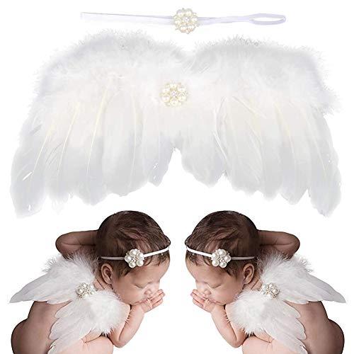 BESLIME Recien Nacido Fotografia Kit, Bebe Plumas Angel Alas con Diadema Set, Bebe Fotografía Accesorios prop Disfraz - Blanco
