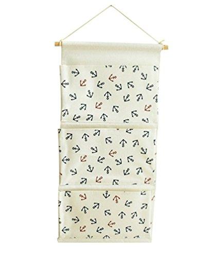 YOUJIA Sac de Rangement Suspendu en Tissu de Lin Derrière Porte Murale Pliable pour Jouets Bijoux Clés 3 Poche (Ancre, 35 * 65cm)