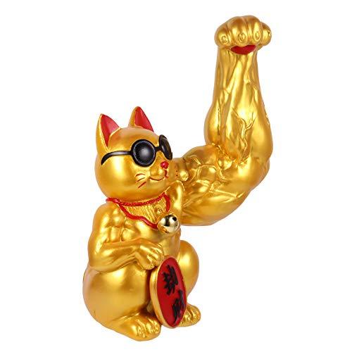 STOBOK Glückskatze Figur Lustig Harz Golden Katze Muskel Arm Reichtum Glücksbringer Glücksstatue Büro Zuhause Cafe Geschäft Einweihungsparty Ladenöffnung Geschenk Tischdekoration Stil B