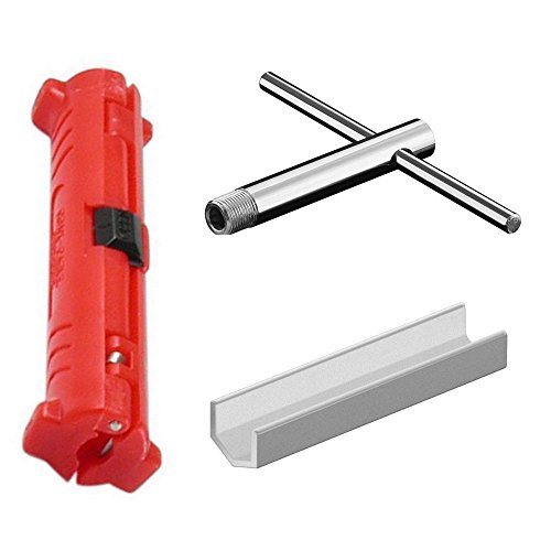 erenLINE Werkzeug-Set für F Stecker-Montage 3-teilig: Abisolierer, Schlüssel, Knebel