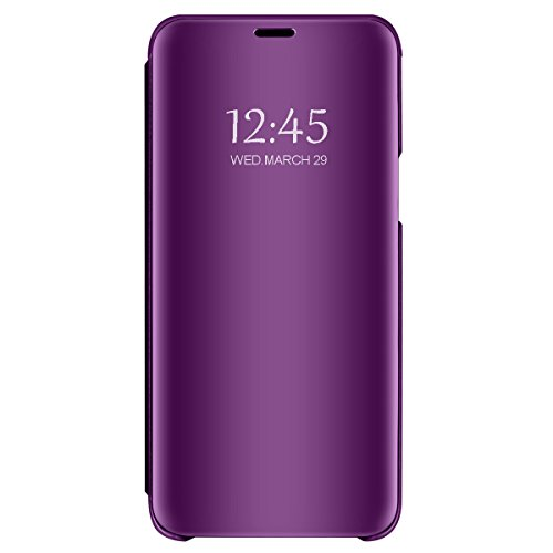 1Anberi, hoes voor Huawei P40 Lite, hoes voor mobiele telefoon, leer, polyurethaan/polycarbonaat, spiegel, doorzichtig, fliphoes, 360 graden, schokbestendig, beschermhoes met standaardfunctie voor Huawei P40 Lite cover, Eén maat, lila