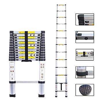 Telescopic Ladder Aluminum Extension Telescoping Ladder Foldable Extend and Climb Ladder EN131 Standard 4.5M/15Ft