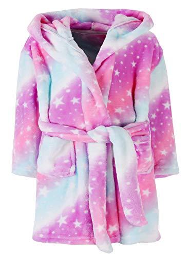 Ameyda Cosplay Costumes Girls' Robe, Galaxy Star Print Fleece Bathrobe Flannel Sleepwear Hooded Robe for Toddler Little & Big Girls, 01# Pink Galaxy Stars, 7-8 Years = Tag 140