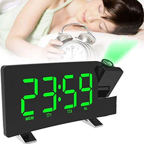 Despertador de Proyección Reloj Digital Reloj de Radio Pantalla 7 Pulgadas LED Proyector Giratorio 180 ° Radio FM Carga USB 3 Niveles de Brillo,Reloj Radio Despertador Digital Proyector Techo (Green)