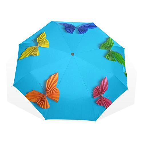 Rootti 3-fach faltbarer, leichter Regenschirm mit buntem Origami-Schmetterling, ein Knopf, automatisches Öffnen und Schließen, winddicht, für Kinder, Damen und Herren