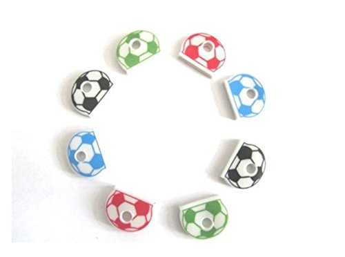8 PCS FOOTBALL KEY CAPS Assorted Colours Top Head Covers ID Tag Ring Keyring Tab Key Cover