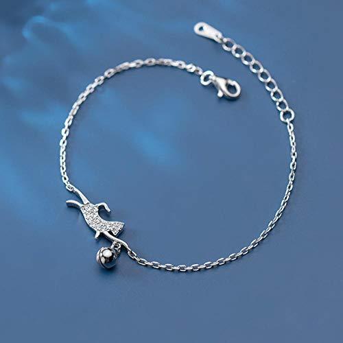 THTHT S 925 sterling zilveren armband vrouwen eenvoudige kat met strass bel retro temperament sieraden creatief leuk lief persoonlijkheid verjaardagscadeau