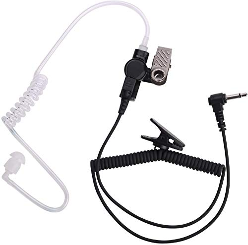 3.5mm Police Listen Only Acoustic Tube Earpiece with One Pair Medium Earmolds for Speaker Mics
