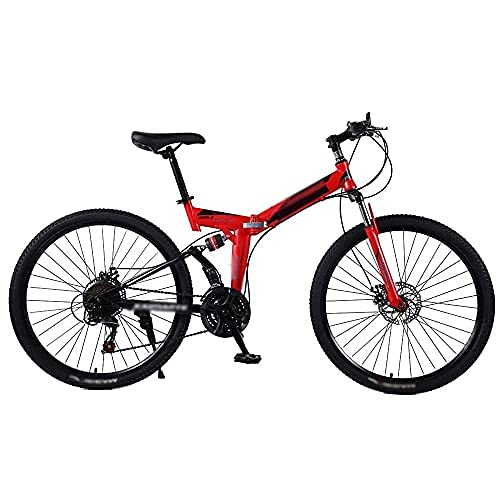 HUAQINEI Bicicleta de Acero 21/24/27 velocidades, Bicicleta de montaña Plegable, Freno de Disco Doble, Velocidad Variable, Bicicleta de Carreras, 21 velocidades, 26 Pulgadas