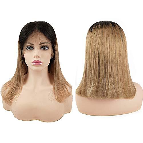 Mila 10inch/25cm 100% Umani Capelli Parrucca Corti per Donna Ombre Bionda 1B/27# Brazilian Virgin Hair Glueless Lace Front Wig 130% Densità