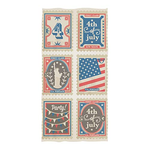 Soft Beach Towel Absorbent Large Bath Towels Multipurpose for Bathroom Gym and Spa 74'x37' Postage Stamps Set Independence Day
