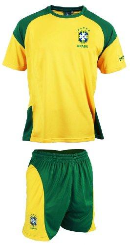 Selecao - Maglietta + Pantaloncinidella squadra di calcio del Brasile,collezione ufficiale, taglia bambino, giallo, 4 anni
