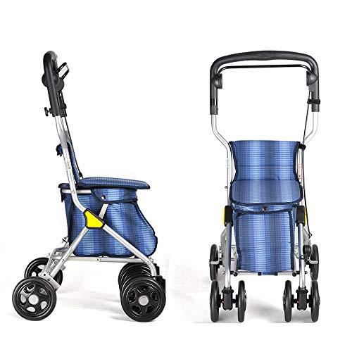 GAOXIAOMEI Leichtgewicht Klappbare Gehhilfe, Rollator mit Bremsen Sitz, für Senioren,Behinderte (Blau)
