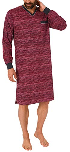 NORMANN-Wäschefabrik Herren Nachthemd Langarm - auch in Übergrössen bis Grösse 70 - Minimalprint - 291 90 431, Größe2:58, Farbe:rot