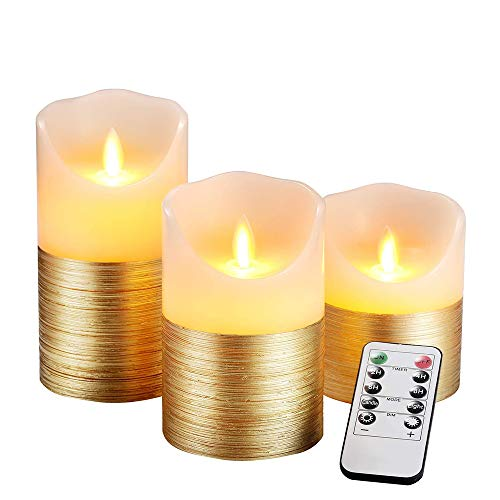 AnnSpa 3 Set Gold LED Kerzen Batteriebetriebene mit 10-Tasten-Fernbedienung und Radfahren 24-Stunden-Timer,Flammenlose Echtes Wachs Flackern Moving Wick Flackern Amber Yellow Light Pillar Candles