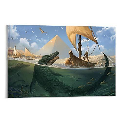 DRAGON VINES Assassin's Creed Origins Bayek Egipto Pirámide de cocodrilo, moderna y contemporánea, pintura moderna y minimalista, decoración de dormitorio, sala de estar, 50 x 75 cm
