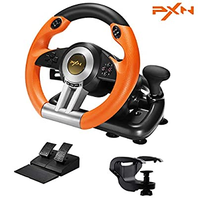 PC Racing Wheel, Experience PXN Left and Right Dual Vibration Motors and 180° Spin Racing Game Steering Wheel with Linear Pedals/Accelerator Brake for PC/PS3/PS4/Xbox One/Nintendo Switch Host(Orange)