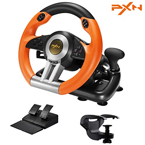 PXN V3III PC Racing Wheel,Experience Left and Right Dual Vibration Motors and 180° Spin Racing Game Steering Wheel with Linear Pedals/Accelerator Brake for PC/PS4/Xbox One/Nintendo Switch Host(Orange)