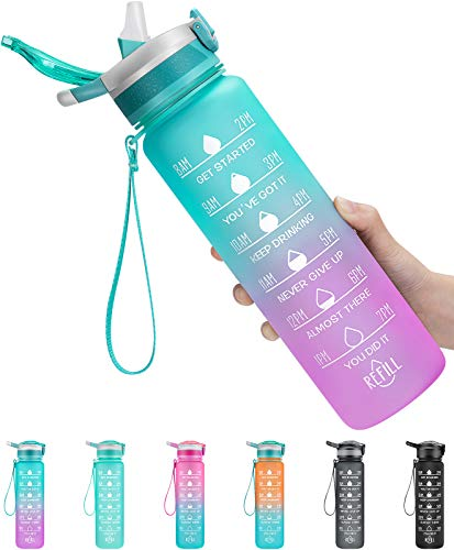 1000ml Sports Water Bottle with Motivational Time Marker & Straw,...