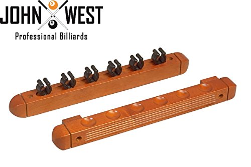 John West Supporto da parete per 6 stecche da biliardo, marrone