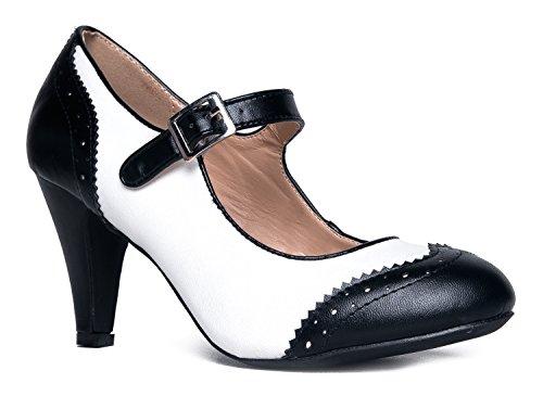 J. Adams Kym Mary Jane Oxford Heels - Round Toe Rockabilly Pumps Shoes Women