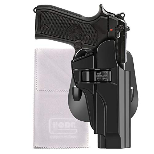 HQDA OWB Holster Fits Beretta 92 92fs Taurus PT92 INOX M9 M9_22 A1(BLK, RH) Tactical Outside Waistband Paddle Holster Holder,Right-Handed (Beretta 92 92fs INOX M9 M9_22 A1 Paddle Holster)