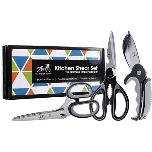 Kitchen Shear Gift Set – The Ultimate Three Piece Scissor Set   Standard Kitchen Shears   Dual Blade Salad Shears   Multi-Blade Herb Shears