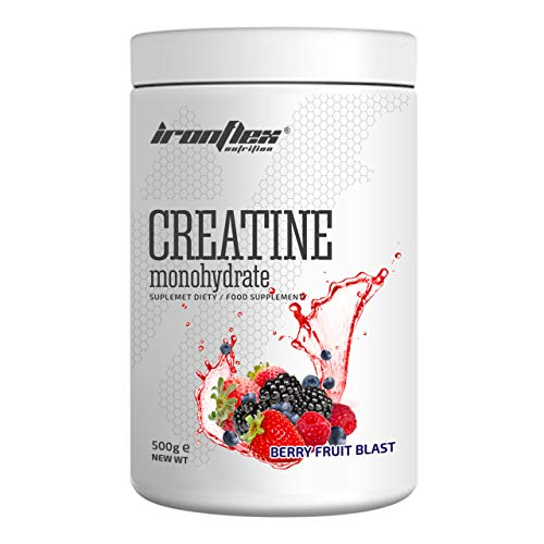 IronFlex Creatine Monohydrate Package of 1 x 500g – Taurine – Vitamin B6 (Berry Fruit Blast)
