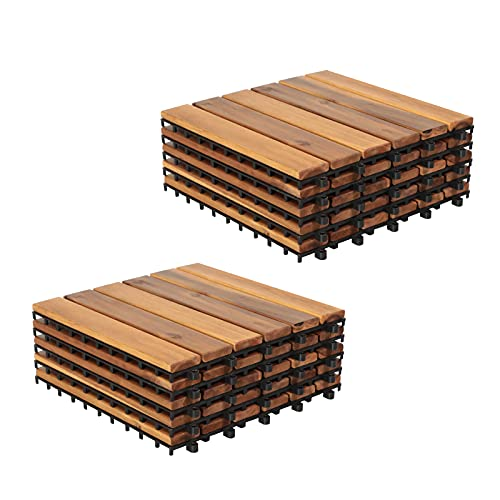 Patiorama Wood Interlocking Flooring Tiles, Straight Pattern Patio Deck Tiles, 12 x 12 Inch (Pack of 10), Solid Wood Acacia Deck Tiles for Garden Indoor Outdoor (Natural Color, 6 Slats)