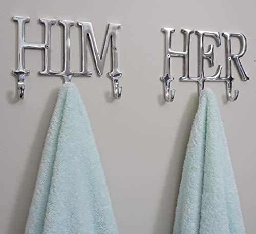Him and Her Towel Hooks for Bathrooms   Wall Mounted Towel Rack   Bathroom Organizer   Decorative Wall Hooks   Bathroom Towels   Robe Hook   Clothing Hanger   Coat Rack   Home Decor   Wedding Gift