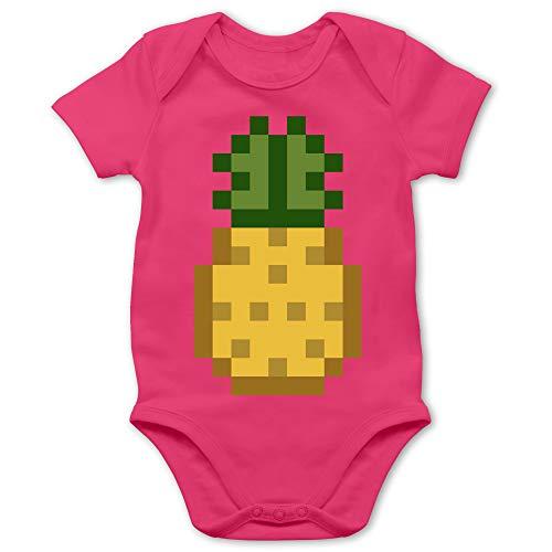 Shirtracer Karneval und Fasching Baby - Pixel Ananas - Karneval Kostüm - 12/18 Monate - Fuchsia BZ10 - Baby Body Kurzarm für Jungen und Mädchen