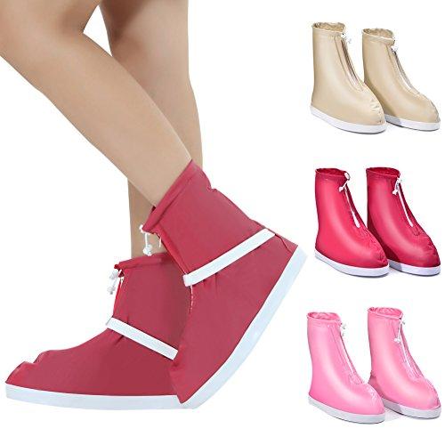 vwlvrsco Women Thick Sole Outdoors Travel Anti Slip Rain Shoes Covers Waterproof Boots - Red Women S