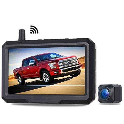 Wireless Backup Camera HCW CREATE with 5 Inch HD Monitor Kit, Reversing Video Come-up in 0.7 Second Smallest Rear View Reverse Camera, Stable Digital Signal for Trucks, Car, SUV, Pickup, Mini Van