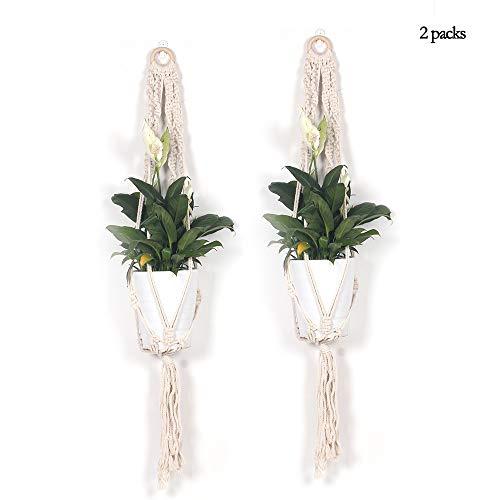 Suspendu Plante Pots intérieur, macramé Plante cintres Style bohème jardinières décoratives pour Bureau Maison Chambre Balcon Coton Corde 5 Jambes 2 Packs