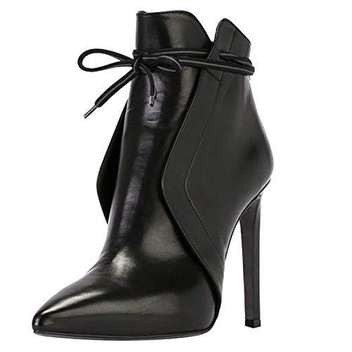 Meilily Damen Schuhe, Pointed Toe Thin High Heels Lässige Lederschuhe Kurze Stiefel...