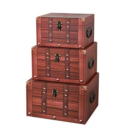 Soul & Lane Decorative Cardboard Storage Trunk - Set of 3 | Treasure Storage Chest for Toys Photos Memories Closet Nursery Office Bedroom
