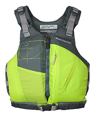 Stohlquist Kids PFD Life Jacket - Lime, 75-125 lbs - Super-Soft Lightweight Buoyancy Foam, Fully Adjustable, Front Buckle for Extra Security, Coast Guard Approved Life Vest for Kids